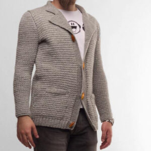 Hand knitted Grey Cardigan For Men | The Brand Barrel