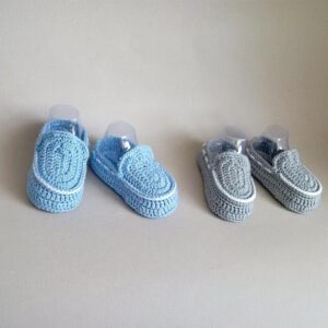 Blue & Grey Crochet Baby Loafers | The Brand Barrel