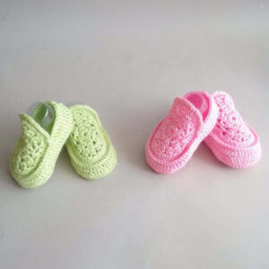 Pink and Green Crochet Baby Loafers | The Brand Barrel