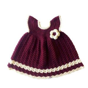 Crochet Maroon Red Daisy woolen Knitted Skirt Frock | The Brand Barrel