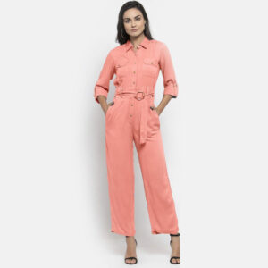 Baby Pink Solid Jump Suit with Belt | The Brand Barrel