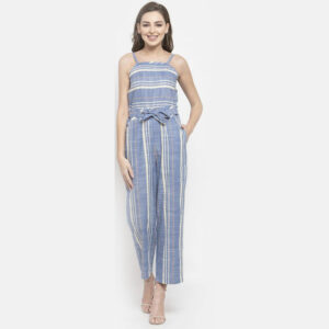Blue and Grey vertical strip Jumpsuit | The Brand Barrel