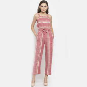 Vertical Striped Jumpsuit - Pink & White Striped | The Brand Barrel